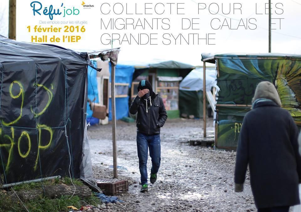 Affiche pour la collecte organisée par Réfu'job et Cal'aide